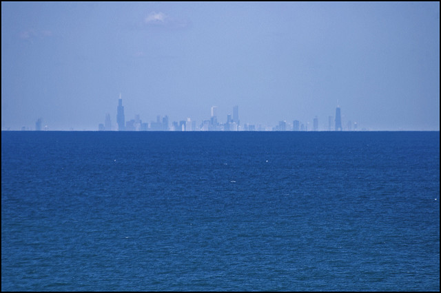 Chicago Skyline 60 miles across Lake Michigan