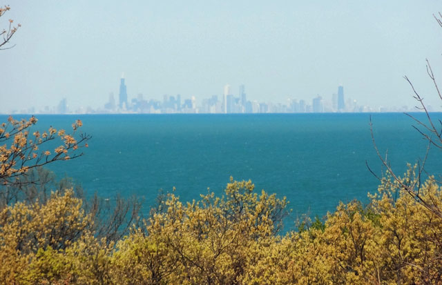 On a clear day the city of Chicago can be seen 60 miles across Lake Michigan